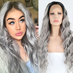 cheap Synthetic Lace Wigs-Synthetic Lace Front Wig Wavy Side Part Lace Front Wig Ombre Long Ombre Grey Synthetic Hair 18-26 inch Women's Cosplay Soft Party Gray Ombre