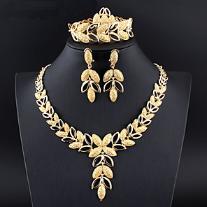 cheap Jewelry Sets-Women's Hoop Earrings Necklace Bracelet Classic Leaf Pear Stylish Classic Basic Gold Plated Earrings Jewelry Gold / Silver For Wedding Party Engagement Four-piece Suit / Bridal Jewelry Sets