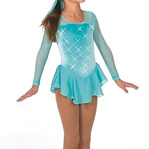 cheap Movie & TV Theme Costumes-Figure Skating Dress Women's Girls' Ice Skating Dress Sky Blue Spandex High Elasticity Training Competition Skating Wear Crystal / Rhinestone Long Sleeve Ice Skating Figure Skating