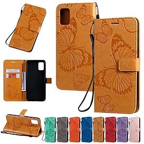cheap Samsung Case-Case For Samsung Galaxy Galaxy A50(2019) / Samsung Galaxy A90(2019) / Galaxy A2 Core Wallet / Card Holder / with Stand Full Body Cases Butterfly / Solid Colored PU Leather