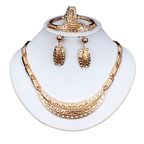 cheap Rings-Women's Gold Hoop Earrings Necklace Bracelet Classic Flower Stylish Basic Africa Earrings Jewelry Gold For Wedding Party Engagement Four-piece Suit / Bridal Jewelry Sets / Open Ring