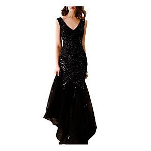 cheap Prom Dresses-Mermaid / Trumpet Sparkle Black Engagement Formal Evening Dress V Neck Sleeveless Sweep / Brush Train Polyester with Sequin 2020