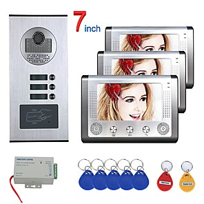 cheap Video Door Phone Systems-7 inch 3 Apartment/Family Video Door Phone Intercom System RFID IR-CUT HD 1000TVL Camera Doorbell Camera  Waterproof