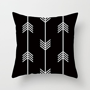 cheap Pillow Covers-1 pcs Polyester Pillow Cover Black-and-White Geometric Pillow Case Simple Plaid Wavy Stripes SOFA Cushion Office Chair Waist Pillow Case