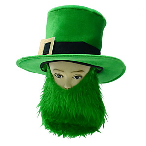 cheap Christmas Decorations-St Patrick's Day Pride Men's Costume Green Big Irish Beard Hat