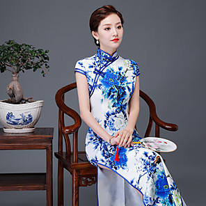 cheap Ethnic & Cultural Costumes-Adults' Women's Chinese Style Chinese Style Cheongsam Qipao For Party Cotton Polyster 3D Print Halloween Carnival Masquerade Cheongsam