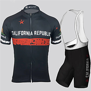 cheap Cycling Jersey & Shorts / Pants Sets-21Grams Men's Short Sleeve Cycling Jersey with Bib Shorts Spandex Polyester Black / White California Republic National Flag Bike Clothing Suit UV Resistant Breathable Quick Dry Sports California