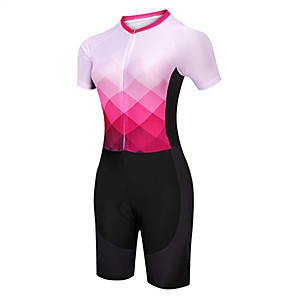 cheap Triathlon Clothing-21Grams Women's Short Sleeve Triathlon Tri Suit Pink / Black Argyle Bike Clothing Suit UV Resistant Breathable Quick Dry Sweat-wicking Sports Argyle Mountain Bike MTB Road Bike Cycling Clothing