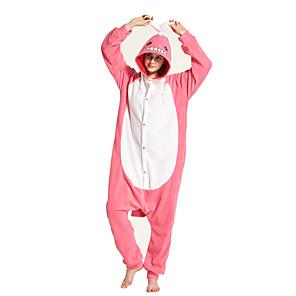 cheap Dog Clothes-Adults' Kigurumi Pajamas Shark Onesie Pajamas Flannelette Pink Cosplay For Men and Women Animal Sleepwear Cartoon Festival / Holiday Costumes