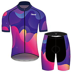 cheap Cycling Jersey & Shorts / Pants Sets-21Grams Men's Women's Short Sleeve Cycling Jersey with Shorts Polyester Spandex Blue Gradient Bike Clothing Suit Breathable 3D Pad Quick Dry Reflective Strips Sweat-wicking Sports Gradient Mountain