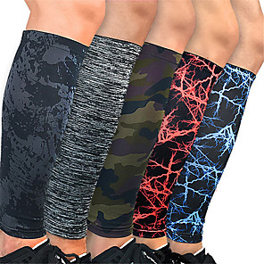 cheap Movie & TV Theme Costumes-Leg Sleeves Calf Support Calf Compression Sleeves Sporty for Running Marathon Hiking Elastic Breathable Sweat-wicking Men's Women's Polyester / Polyamide 1 Pair Sports Black Red Camouflage