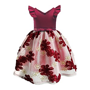 cheap Movie & TV Theme Costumes-Ball Gown Knee Length Pageant Flower Girl Dresses - Polyester Sleeveless Jewel Neck with Embroidery