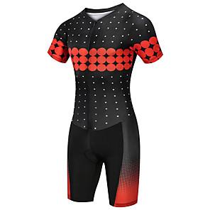 cheap Triathlon Clothing-21Grams Women's Short Sleeve Triathlon Tri Suit Black / Red Polka Dot Bike Clothing Suit UV Resistant Breathable Quick Dry Sweat-wicking Sports Polka Dot Mountain Bike MTB Road Bike Cycling Clothing