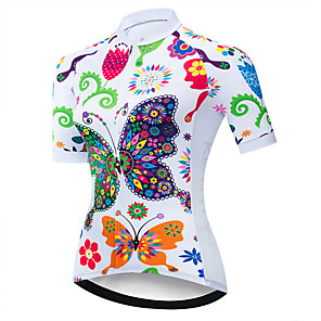 cheap Women's Cycling Jerseys-21Grams Women's Short Sleeve Cycling Jersey Summer Spandex Polyester Red / White Blue Yellow Butterfly Floral Botanical Bike Jersey Top Mountain Bike MTB Road Bike Cycling UV Resistant Quick Dry