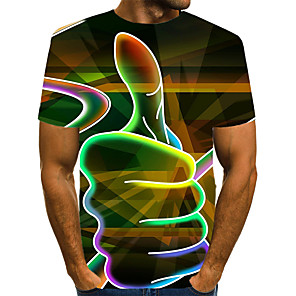 cheap Wedding Shoes-Men's Plus Size 3D Graphic Print T-shirt Exaggerated Daily Holiday Round Neck White / Red / Orange / Green / Rainbow / Summer / Short Sleeve