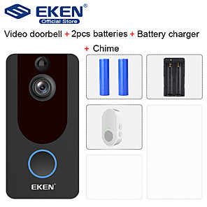 cheap Video Door Phone Systems-EKEN V7 HD 1080P Smart WiFi Video Doorbell with 2*18650 Battery 1*Chime 1*18650 Battery Charger