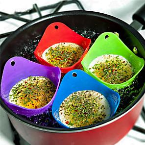 povoljno Sokovnici-4pcs / set flexibe silikonski jajašnik kuhati kuhati lončić podmetača kuhinjski alat pečenje poširana čaša slučajne boje