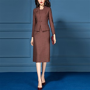 cheap Historical & Vintage Costumes-The Great Gatsby Retro Vintage 1950s Elegant Dress Coat Outfits Women's Costume Brown Vintage Cosplay Work Office & Career Long Sleeve