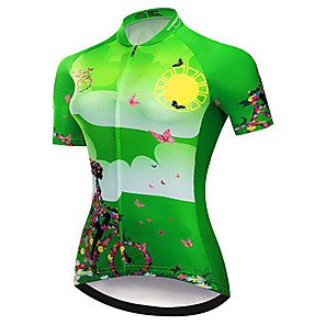 cheap Cycling Jersey & Shorts / Pants Sets-21Grams Women's Short Sleeve Cycling Jersey Green Butterfly Geometic Bike Jersey Top Mountain Bike MTB Road Bike Cycling UV Resistant Breathable Quick Dry Sports Clothing Apparel / Stretchy