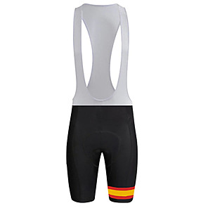 cheap Cycling Jerseys-21Grams Men's Cycling Bib Shorts Bike Bib Shorts Pants / Trousers Padded Shorts / Chamois Breathable Quick Dry Ultraviolet Resistant Sports Spain National Flag Black / White Mountain Bike MTB Road
