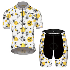 cheap Cycling Jersey & Shorts / Pants Sets-21Grams Men's Women's Short Sleeve Cycling Jersey with Shorts Black / Yellow Floral Botanical Bike Clothing Suit Breathable 3D Pad Quick Dry Reflective Strips Sports Floral Botanical Mountain Bike