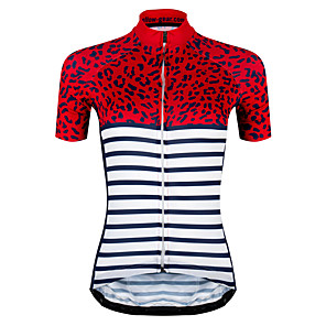 cheap Triathlon Clothing-21Grams Women's Short Sleeve Cycling Jersey Polyester Spandex Red / White Plaid / Checkered Stripes Bike Jersey Top Mountain Bike MTB Road Bike Cycling UV Resistant Breathable Quick Dry Sports