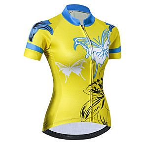 cheap Cycling Jerseys-21Grams Women's Short Sleeve Cycling Jersey Spandex Polyester Blue+Yellow Butterfly Floral Botanical Bike Jersey Top Mountain Bike MTB Road Bike Cycling UV Resistant Breathable Quick Dry Sports
