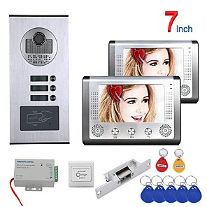 cheap Video Door Phone Systems-7 Inch 2 Apartment/Family Video Door Phone Intercom System RFID 1000TVL  Doorbell Camera NO Electric Strike Door Lock