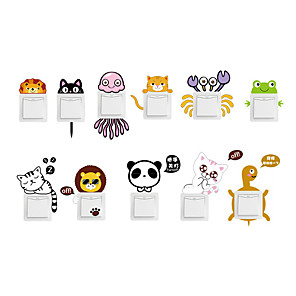 cheap Wall Stickers-Cute Animals Light Switch Stickers - Animal Wall Stickers Animals Indoor / Kids Room