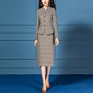cheap Historical & Vintage Costumes-The Great Gatsby Retro Vintage 1950s Elegant Dress Coat Outfits Women's Costume Gray Vintage Cosplay Work Office & Career Long Sleeve