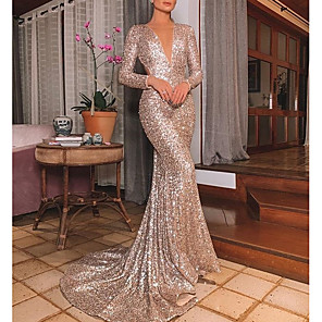 cheap Special Occasion Dresses-Mermaid / Trumpet Beautiful Back Engagement Formal Evening Dress V Neck Long Sleeve Sweep / Brush Train Polyester with Sequin 2020