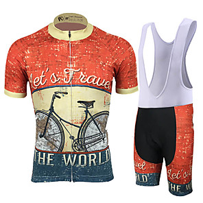 cheap Cycling Jersey & Shorts / Pants Sets-21Grams Men's Short Sleeve Cycling Jersey with Bib Shorts Spandex Polyester Jacinth +Gray Retro Patchwork Geometic Bike Clothing Suit UV Resistant Breathable 3D Pad Quick Dry Reflective Strips Sports
