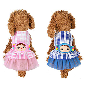 cheap Dog Clothes-Dog Cat Dress Dog Clothes Blue Pink Costume Husky Labrador Alaskan Malamute Polyester Cotton Bowknot Flower Leisure Sweet XS S M L XL