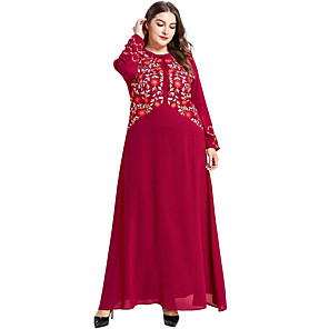 cheap Sports Headphones-Adults' Women's A-Line Slip Abaya Dress Muslim Dress Maxi Dresses For Party Cotton Polyster Embroidered Halloween Carnival Masquerade Dress