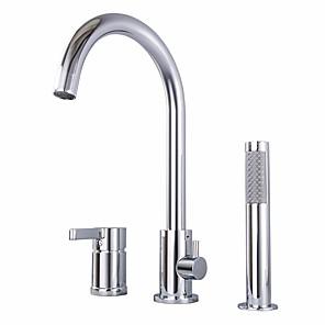 cheap Bathtub Faucets-Bathtub Faucet - Contemporary Chrome Roman Tub Ceramic Valve Bath Shower Mixer Taps / Single Handle Three Holes