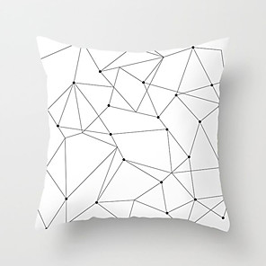 cheap Pillow Covers-1 pcs Polyester Pillow Cover Nordic Black-and-White Pillow Case Geometric Plaid Stripe English Simple Cushion Sofa Cushion Office Back Cushion Case