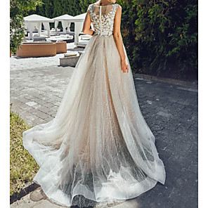 cheap Wedding Wraps-A-Line Wedding Dresses Jewel Neck Sweep / Brush Train Lace Tulle Polyester Short Sleeve Formal Plus Size with Lace Insert Appliques 2020
