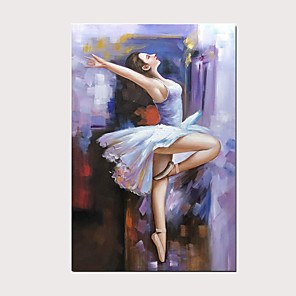 cheap Abstract Paintings-Modern Oil Painting Charming Ballet Girl 100% Hand-Painted Purple Vertical Artwork on Canvas for Home Decoration with Stretched Frame Ready to Hang