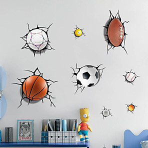 cheap Wall Stickers-3D A lot of Balls Broken Wall Sticker Football Basketball Home Decals Window Stickers Boys Room Living Room Sports Decor Mural