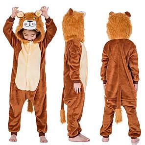 cheap Kigurumi Pajamas-Kid's Kigurumi Pajamas Lion Onesie Pajamas Flannel Fabric Coffee Cosplay For Boys and Girls Animal Sleepwear Cartoon Festival / Holiday Costumes / Leotard / Onesie / Leotard / Onesie