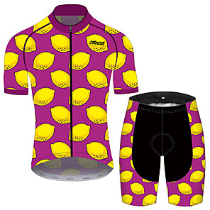 cheap Triathlon Clothing-21Grams Women's Short Sleeve Cycling Jersey with Shorts Red / Yellow Fruit Lemon Bike Clothing Suit Breathable 3D Pad Quick Dry Ultraviolet Resistant Reflective Strips Sports Fruit Mountain Bike MTB