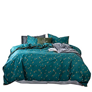cheap Solid Duvet Covers-Duvet Cover Sets 4 Piece Cotton Solid Colored Green Applique Contemporary