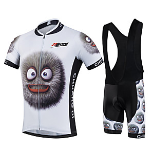 cheap Cycling Jersey & Shorts / Pants Sets-21Grams Men's Short Sleeve Cycling Jersey with Bib Shorts Winter Black / White Cartoon Bike Clothing Suit UV Resistant Breathable 3D Pad Quick Dry Sweat-wicking Sports Solid Color Mountain Bike MTB