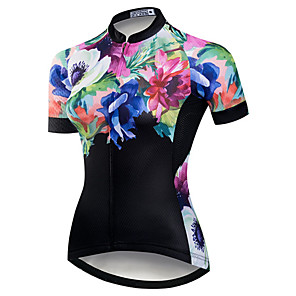 cheap Cycling Jerseys-21Grams Women's Short Sleeve Cycling Jersey Black / Blue Floral Botanical Bike Jersey Top Mountain Bike MTB Road Bike Cycling UV Resistant Breathable Quick Dry Sports Clothing Apparel / Stretchy