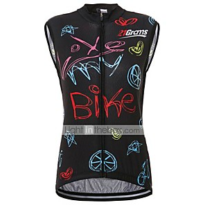 cheap Cycling Jerseys-21Grams Women's Sleeveless Cycling Jersey Black Bike Jersey Top Road Bike Cycling Quick Dry Sweat-wicking Sports Clothing Apparel / Micro-elastic / Race Fit / Italian Ink / Breathable Armpits