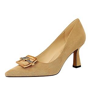 cheap Synthetic Trendy Wigs-Women's Heels Chunky Heel Pointed Toe Suede Winter Black / Khaki
