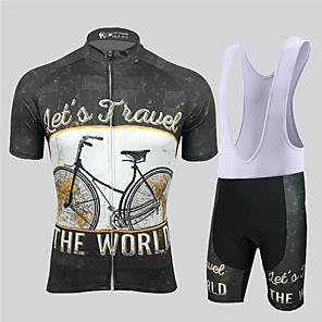 cheap Cycling Jersey & Shorts / Pants Sets-21Grams Men's Short Sleeve Cycling Jersey with Bib Shorts Spandex Polyester Black / White Retro Geometic Bike Clothing Suit UV Resistant Breathable 3D Pad Quick Dry Reflective Strips Sports Retro