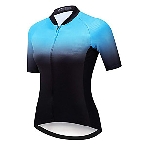 cheap Cycling Jerseys-21Grams Women's Short Sleeve Cycling Jersey Pink Orange Green Gradient Geometic Bike Jersey Top Mountain Bike MTB Road Bike Cycling UV Resistant Breathable Quick Dry Sports Clothing Apparel