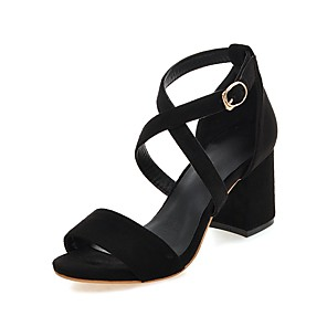 cheap Women's Sandals-Women's Sandals Chunky Heel Open Toe Buckle Suede Preppy / Minimalism Summer Black / Red / Gray / Party & Evening