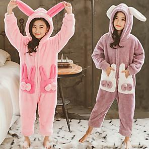 cheap Anime Costumes-Kid's Kigurumi Pajamas Rabbit Bunny Onesie Pajamas Flannelette Purple / Pink Cosplay For Boys and Girls Animal Sleepwear Cartoon Festival / Holiday Costumes